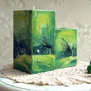 2 drewniane świeczniki - wierzby