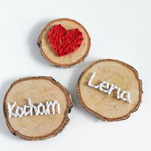 3 magnesy na lodówkę: Kocham, dowolne imię i serce