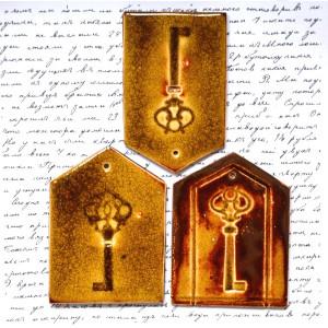3 x zawieszka ceramiczna klucze