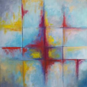 Abstrakcja -obraz akrylowy formatu 40/40 cm