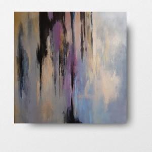 Abstrakcja  w fioletach ze złotem -obraz akrylowy