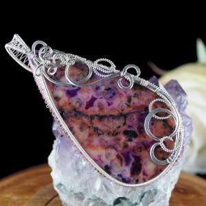 Agat crazy lace, Srebrny wisior z agatem fiolet