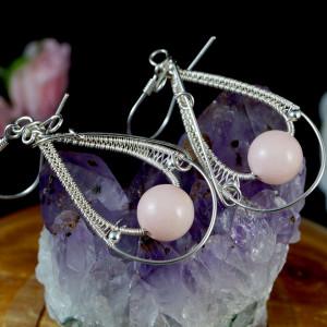 Agat różowy, srebrne kolczyki z agatem handmade