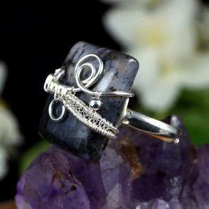 Agat, srebrny pierścionek z agatem dendrytowym