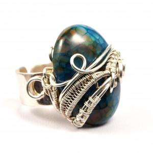 Agat Srebrny pierścionek z agatem dragon vein.