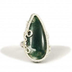 Agat Srebrny pierścionek z agatem mszystym