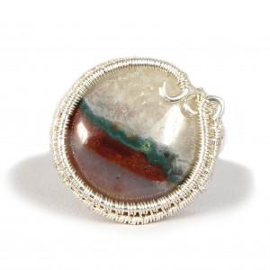 Agat Srebrny pierścionek z agatem okrągły