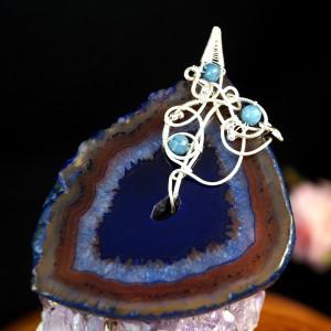 Agat Srebrny wisior z agatem niebieskim