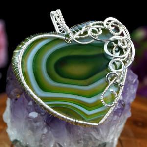 Agat Srebrny wisior z agatem serce zielony