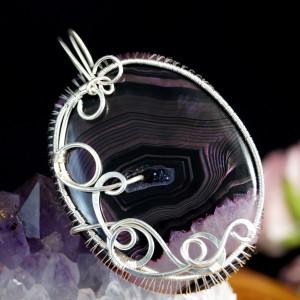 Agat, Srebrny wisior z plastrem agatu wire wrapped