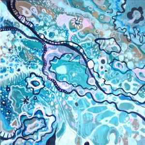 Akryl na płótnie, abstrakcja turkusowa