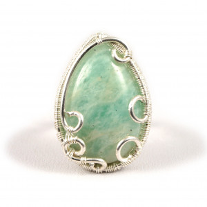 Amazonit, srebrny pierścionek z amazonitem