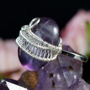 Ametyst Srebrny pierścionek z ametystem fiolet