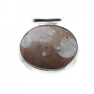 Amonit z Maroka w srebrze wisior