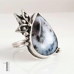 Anemone srebrny pierścień z agatem dendrytowym