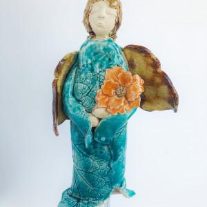 Anioł ceramiczny jesienny