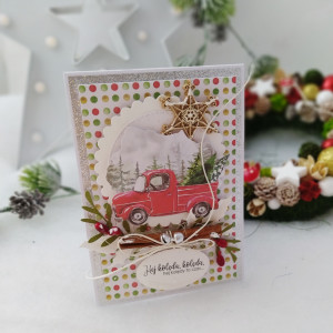 Autko - kartka świąteczna