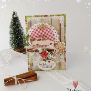 Autko z prezentami - kartka świąteczna - Tradycja