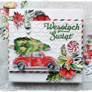 Auto z choinką - kartka świąteczna
