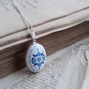 Azulejo  srebro, ręcznie malowana porcelana