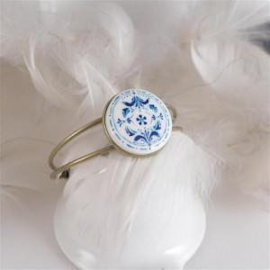 Azulejo bransoletka 2, ręcznie malowana porcelana