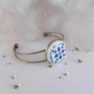 Azulejo bransoletka d, ręcznie malowana porcelana