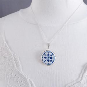 Azulejo d srebro, ręcznie malowana porcelana