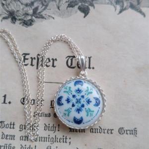 Azulejo mini srebro, ręcznie malowana porcelana