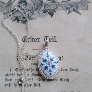 Azulejo naszyjnik cz, ręcznie malowana porcelana