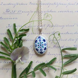 Azulejo naszyjnik, ręcznie malowana porcelana