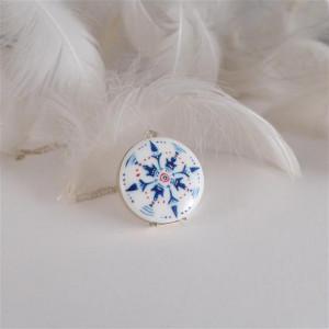 Azulejo naszyjnik srebrny, malowana porcelana
