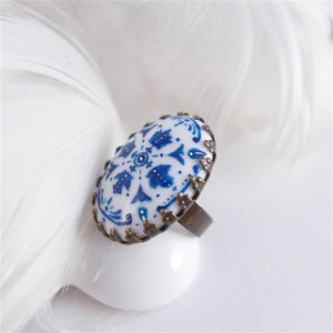 Azulejo, ręcznie malowana porcelana, pierścionek