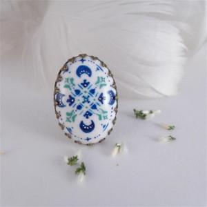 Azulejo turkus, ręcznie malowana porcelana
