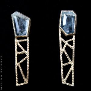 Ażurowe geometryczne sztyfty z akwamarynami