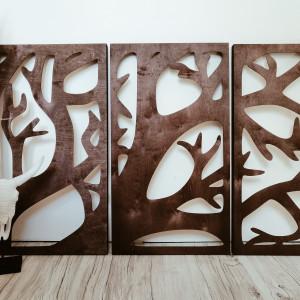 Ażurowy obraz/ Drewniany tryptyk gałęzie Mały
