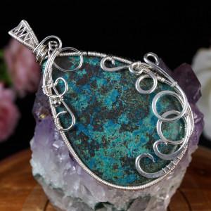 Azuryt, Srebrny wisior z azurytem wire wrapped
