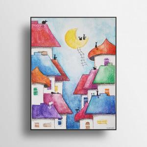 Bajkowe miasteczko -akwarela formatu A5