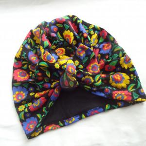 Bawełniana czapka turban kokarda łowickie wzory