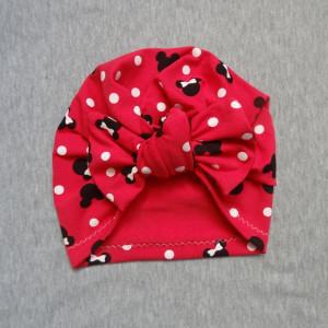 Bawełniana czapka turban kokarda myszki ostry róż