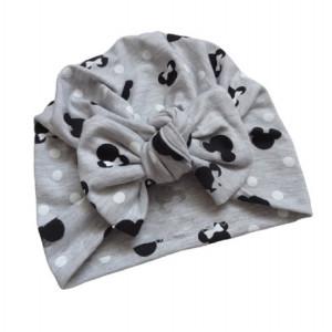 Bawełniana czapka turban kokarda myszki szara