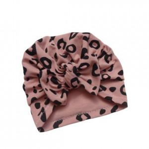 Bawełniana czapka turban kokarda panterka