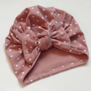 Bawełniana czapka turban kokarda serduszka b.róż