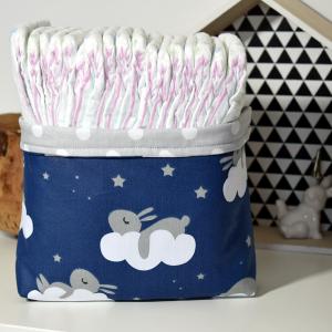 Bawełniany Koszyk na pieluszki, kosmetyki Króliki