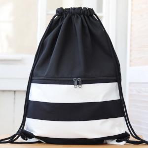 Bawełniany worek plecak, lekki czarny plecak