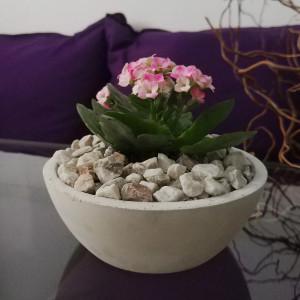 Betonowa doniczka na kwiaty, miska na owoce
