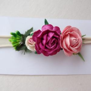 bezuciskowa opaska mini wianek kwiaty