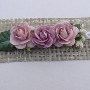 bezuciskowa opaska mini wianek kwiaty lila róż
