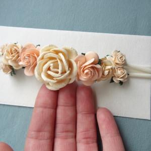 bezuciskowa opaska mini wianek kwiaty róże