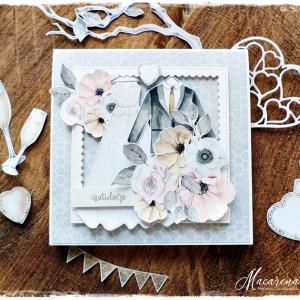Biała suknia - kartka ślubna