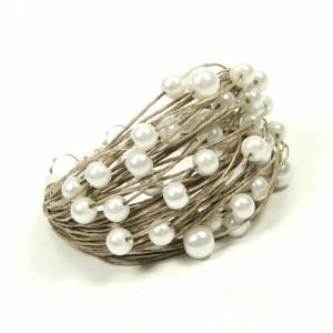 Bialejanna, bransoletka lniana z perełkami